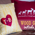 wood grain initials decorative pillows