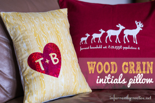 Wood Grain Initials Decorative Pillow
