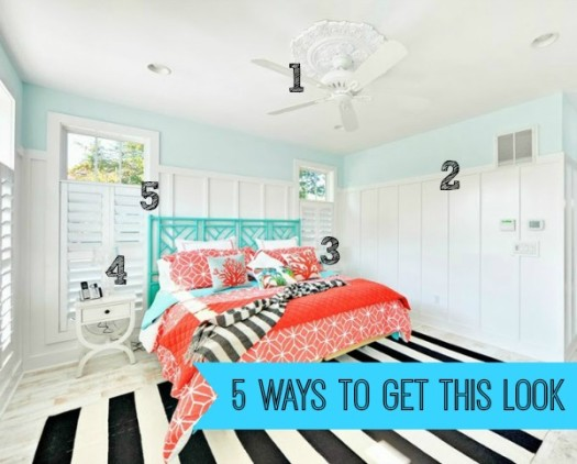 House of Turquoise beachy bedroom numbered