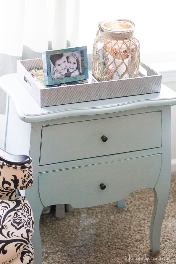 light blue chalk painted table