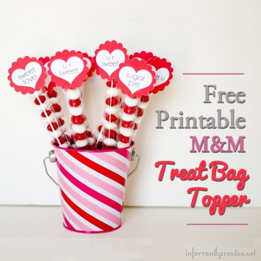 Free Printable Valentine's Day M&M Treat Bag Toppers