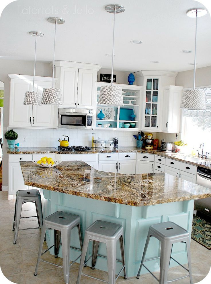 aqua blue kitchen island