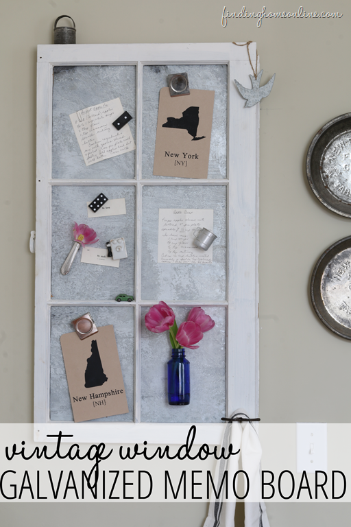 Galvanized Metal Memo Board out of an Old Window