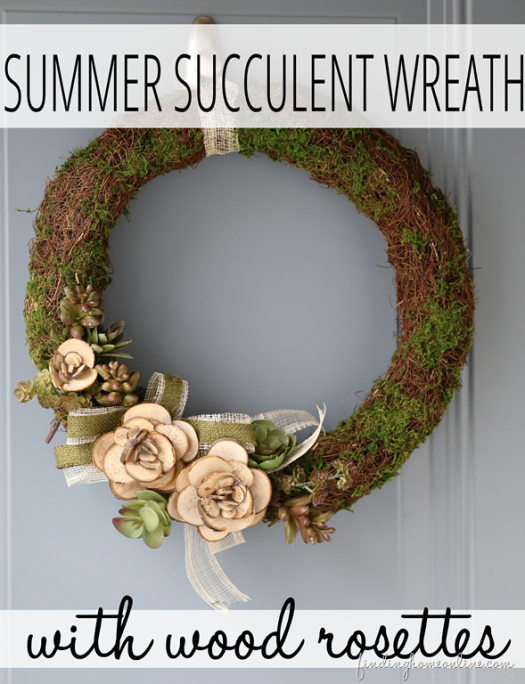 Summer Succulent Wreath with Wood Slices