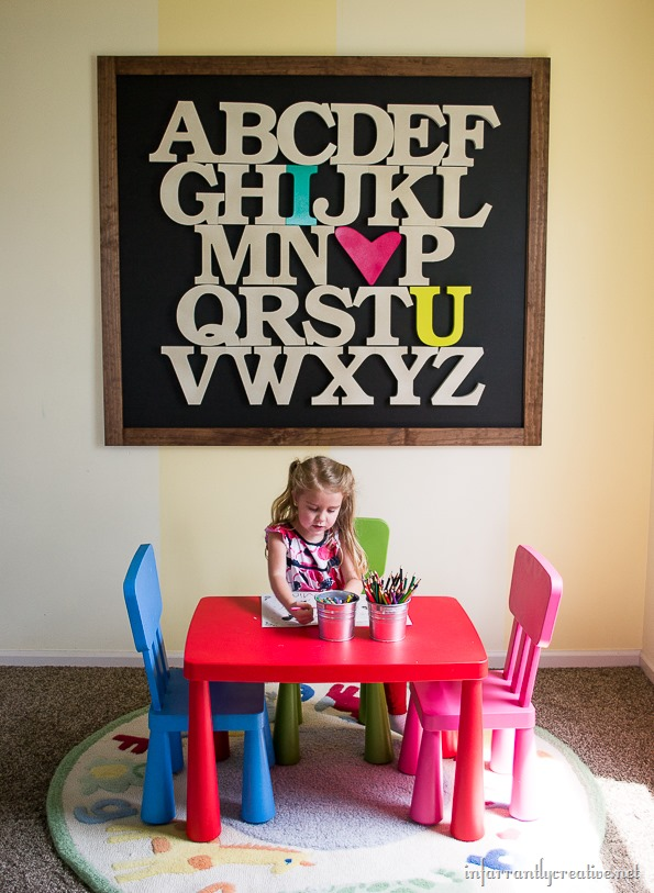 alphabet art on wall