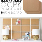 Make a huge pinboard out of cork placemats from IKEA