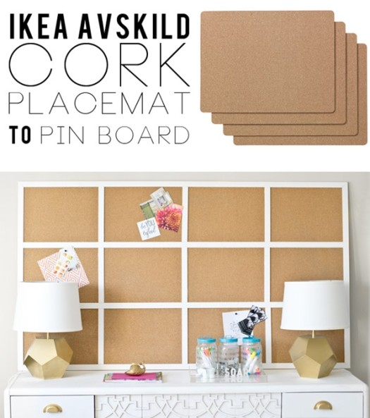 IKEA Placemats to Framed Cork Board