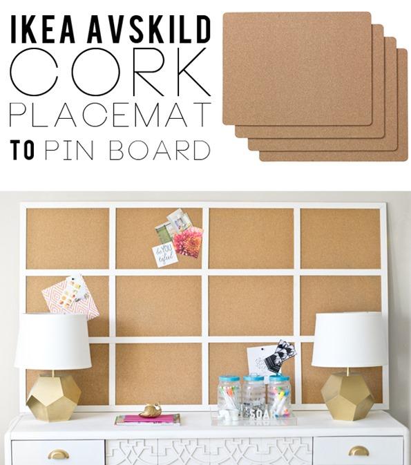 ikea placemats to framed cork board. Black Bedroom Furniture Sets. Home Design Ideas