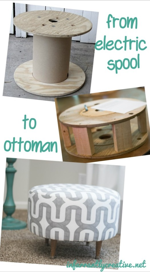 Ottoman Made from an Old Electrical Spool