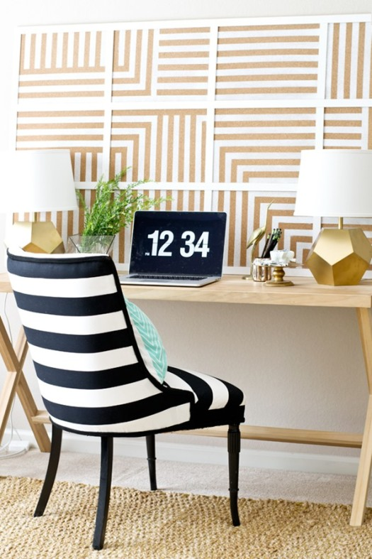 DIY Oversized Striped Corkboard
