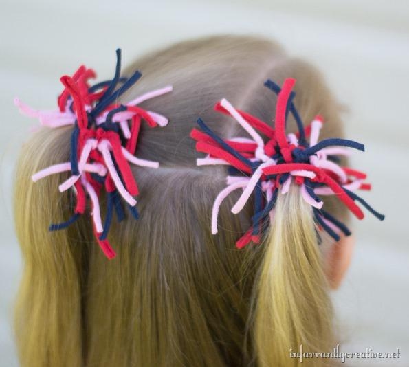 firework hair bows