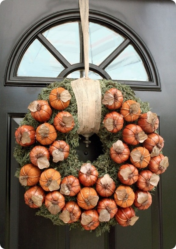 pumpkin and moss wreath