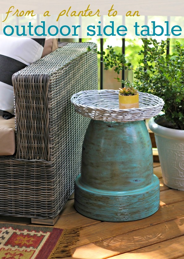 terracotta pot to outdoor side table