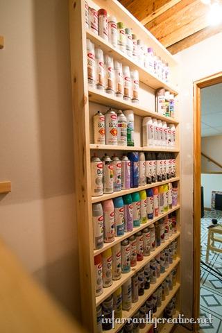 diy spray paint shelf holds 117 cans infarrantly. Black Bedroom Furniture Sets. Home Design Ideas