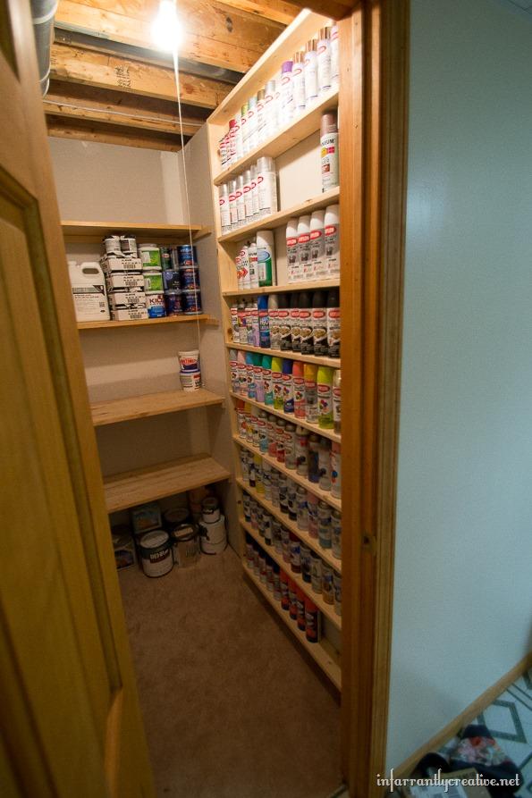 DIY Spray Paint Shelf {holds 117 cans!!} - Infarrantly ...
