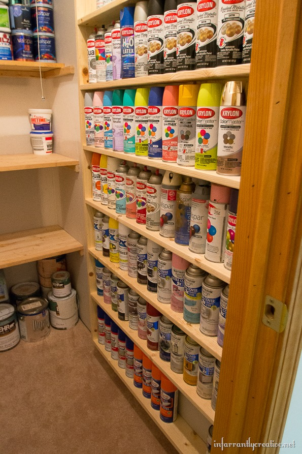 diy spray paint shelf holds 117 cans infarrantly