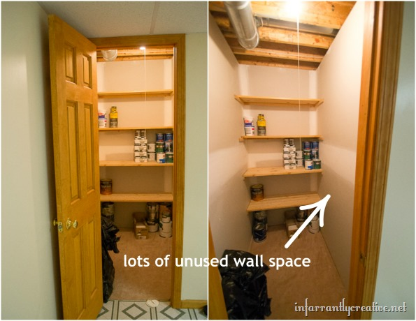 basement closet spray paint shelf