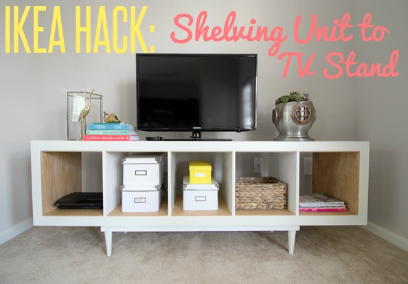 ikea hack shelving unit to tv stand infarrantly creative. Black Bedroom Furniture Sets. Home Design Ideas
