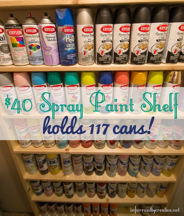 Diy spray paint shelf holds 117 cans for Happy color spray paint price