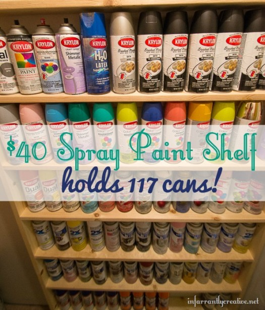 DIY Spray Paint Shelf {holds 117 cans!!}