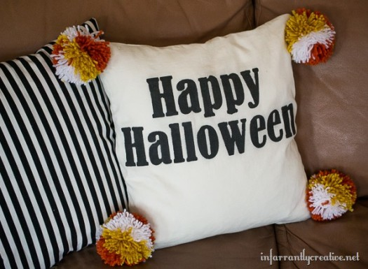 Halloween Pillow with Candy Corn Pom Poms
