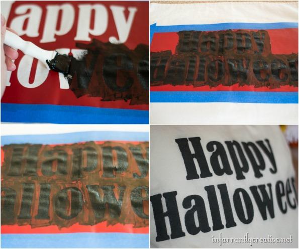 stenciled halloween pillow