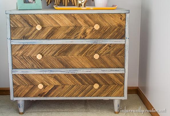 DIY wood herringbone dresser