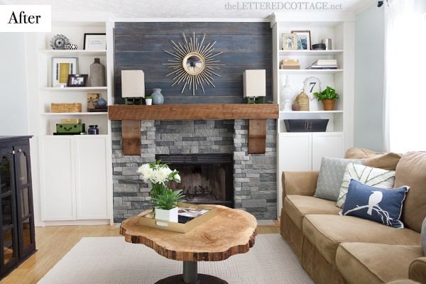 rustic modern living room stone fireplace | Family Room Makeover Part 2: Framing Out the Fireplace ...