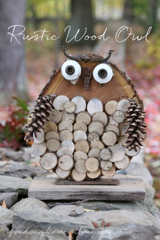 DIY Rustic Wood Owl
