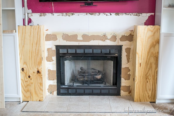 building a fireplace surround in stone - Family Room Makeover Part 2: Framing Out The Fireplace