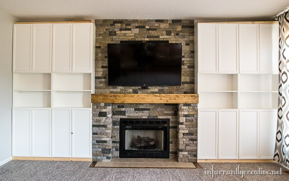 stone fireplace with built in cabinets - Family Room Makeover Part 4: AirStone Fireplace Makeover