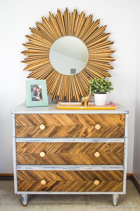wood herringbone dresser