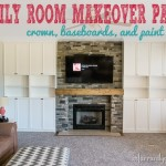 family room makeover crown, baseboards, paint