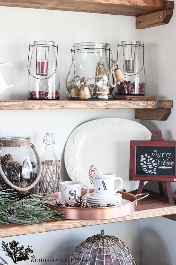 a decorated christmas mantel