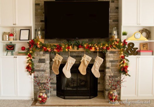 classic red and green mantel