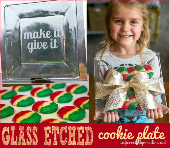 DIY Glass-Etched Holiday Cookie Plate
