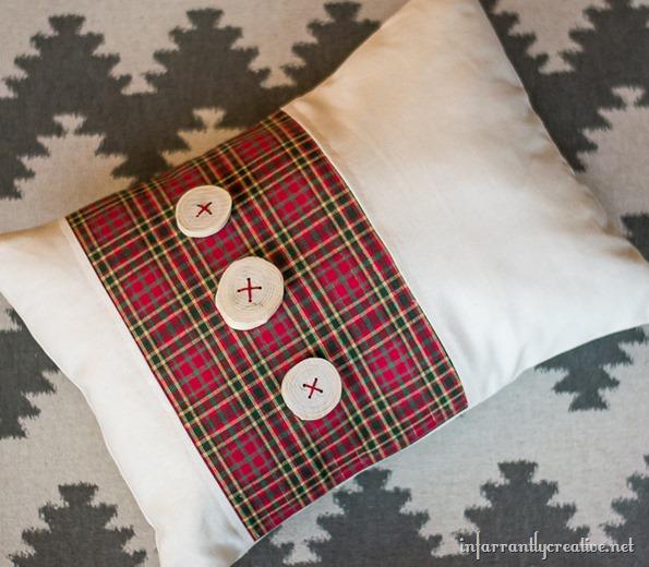 plaid wood slice pillow