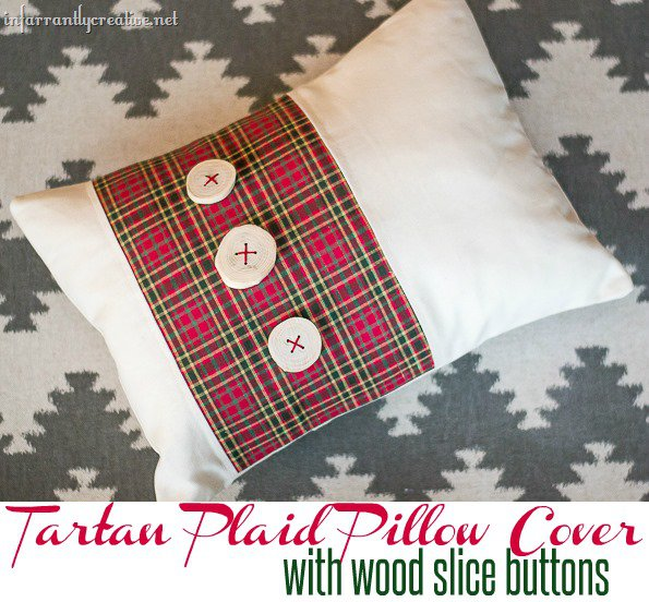 Tartan Plaid Pillow with  Wood Slice Button Embellishments