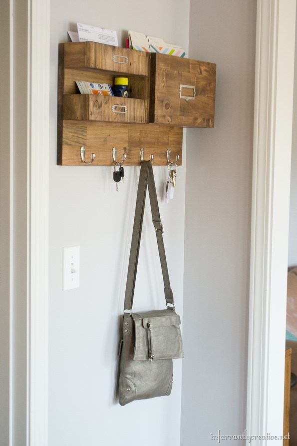 Wall Mail Organizer With Space For Keys Files And Bills