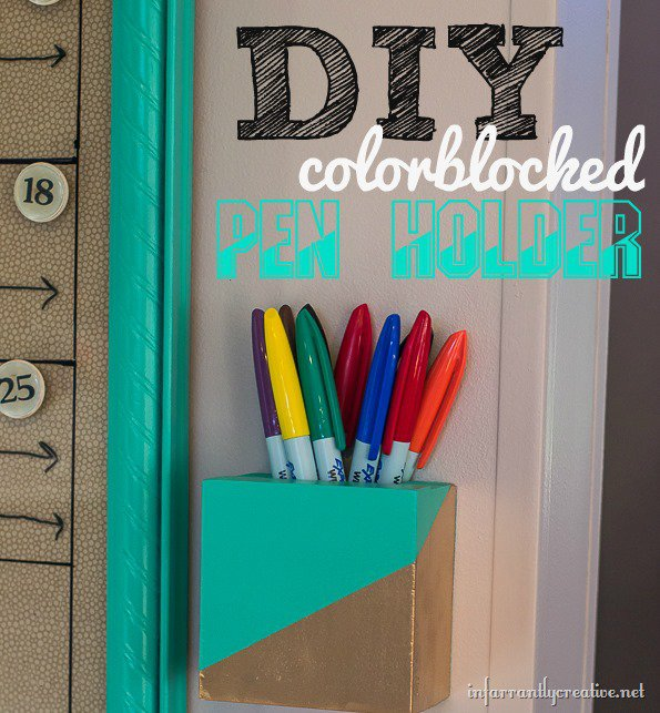 Color Block Pen Holder {Wood Scrap Project}