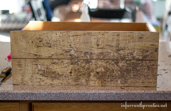 stripped veneer drawer front