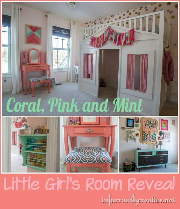DIY HOME DECOR  Coral Mint and Pink Little Girl's Room Reveal