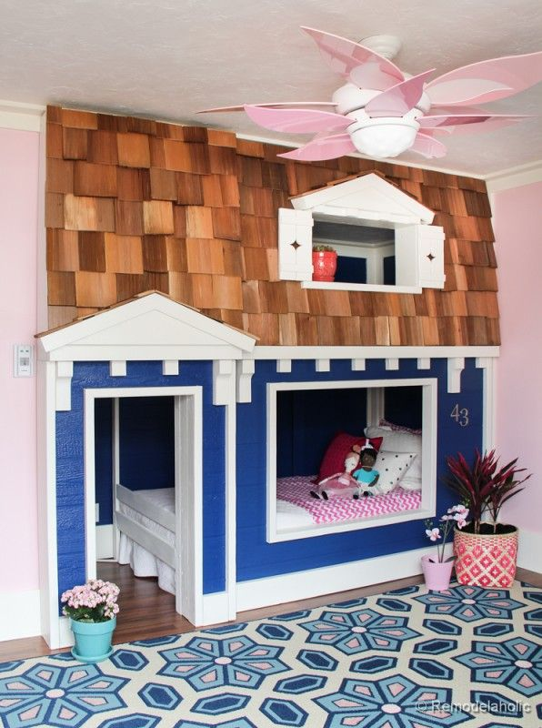 ... details like real shingles on this playhouse bed at Remodelaholic