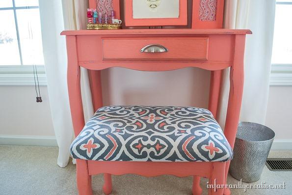 coral vanity stool