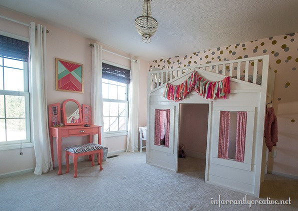 coral mint and pink little girls room reveal infarrantly creative. Black Bedroom Furniture Sets. Home Design Ideas