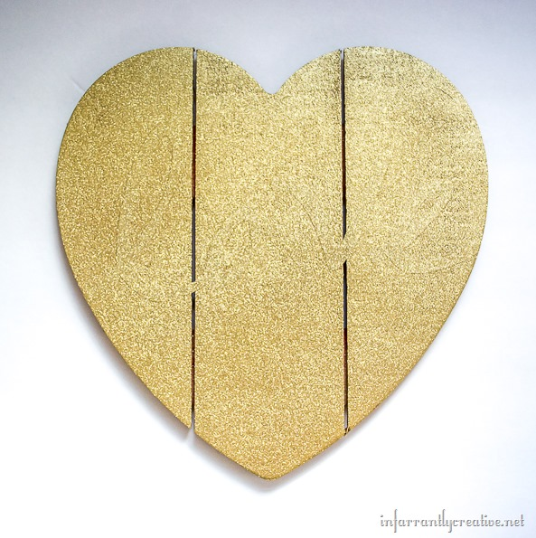 gold glitter wood heart