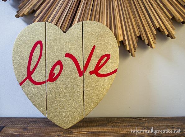 red love gold glitter heart