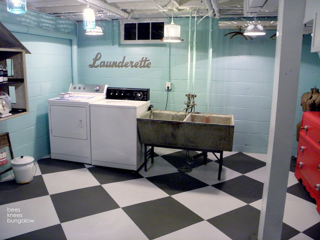 Unfinished Basement Laundry Room Makeover Block Wall