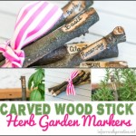 carved wood stick garden markers
