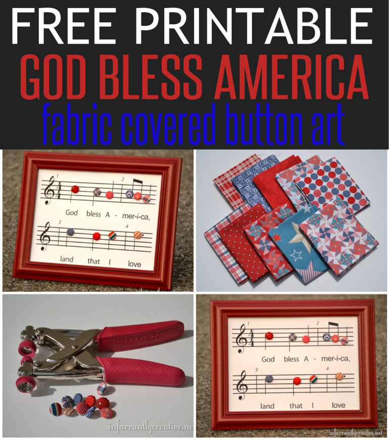 free printable God Bless America fabric covered button art